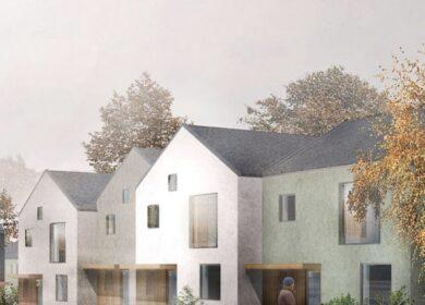 Nybygget flotte byhuse ved Hyrdehøj.